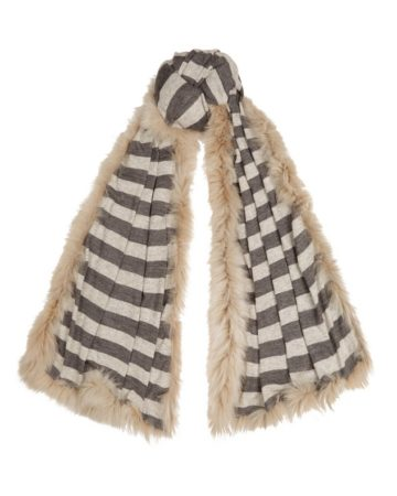 Scarf Stripe Fur Edge 2 01a