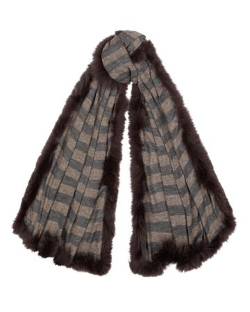 Scarf stripe fur edge 10 01